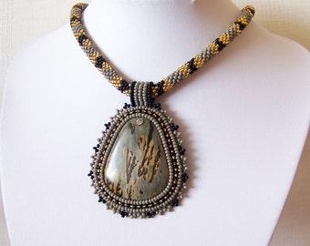 Beadwork Bead Embroidery Pendant Necklace with Chohua Jasper - GREY MEADOW - grey - black - gold - modern necklace - beadwork necklace