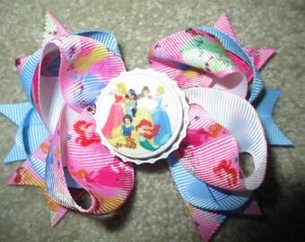 SALE Disney Princesses Custom Boutique Bottle Cap Hair Bow Clip - Jasmine, Snow White, Aurora, Cinderella, Belle, Ariel
