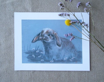 Print Bunny in Daisies