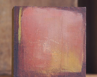 """tiny abstract composition #7  4x4 oil & collage on 1.5"""" artist panel"""