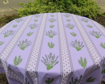 """round tablecloth.40 to 60 """" diameter .  oilcloth , cotton coated . Fabric from Provence.Lavender in purple  ."""