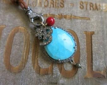 Diamond Turquoise slice pendant on Leather, pave Diamond Ohm charm Sleeping Beauty Turquoise,boho festival chic, Diamond clasp necklace