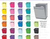 Dishwasher Icon Digital Clipart in Rainbow Colors - Instant download PNG files