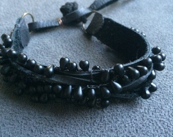 Black Leather and Crochet Glass Bracelet for Men and Unisex