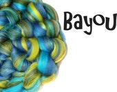 Spinning fibre - Blended roving - 100g - 3.5oz - Merino - Firestar - Mulberry silk - Blue - Green - BAYOU