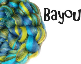 Spinning fibre - Blended roving - 100g - 3.5oz - Merino - Firestar - Mulberry silk - Blue - Green - BAYOU