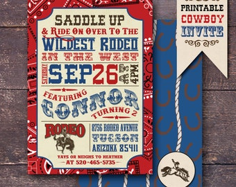 Cowboy Party Invitation, Rodeo Invitation, Western Party Invitation, Cowboy Birthday Invitation, Wild West Party Invitation, Western Party