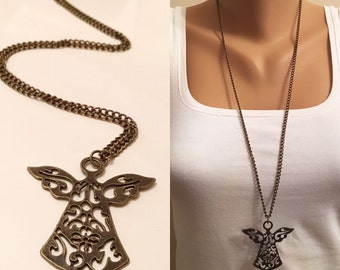 Antique Brass Long Angel Necklace,Lovely Necklace, Boho Jewelry,Angel Pendent Necklace,Fashion,Long Pendent Necklace,Minimalist Jewelry
