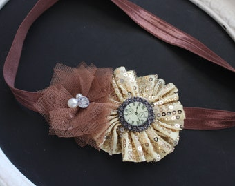 Gold Sequin Flower with Diamond Clock Button Center and Tawny Tulle Flower with Pearl Diamond Gem Accent on Chocolate Brown Elastic Headband