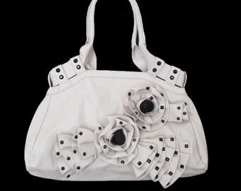 Tan Faux Leather Upcycled Shoulderbag OOAK Artsy Handbag Flower Purse