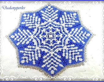 pattern bead weaving doily  and little snowflake blue