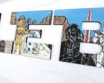 Star Jedi Space Wars Desert Planet Painted Letters, Star Jedi Space Theme Nursery Letters, Jedi Space Nursery Art, Jedi Bedroom Wall Art