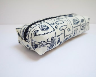 Small cotton zipper pouch, Pencil case/ makeup bag, fully lined with a water resistant fabric.