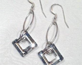 Large Crystal Earrings, Long Silver Earrings, Sterling Silver Dangle Earrings, Swarovski Crystal Jewelry, Sparkly Earrings