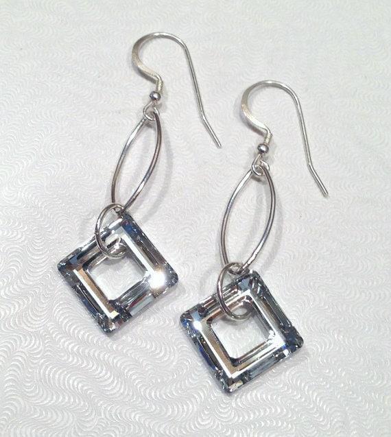 Sterling Silver Dangle Earring, Swarovski Earrings, Beaded Jewelry, Crystal Dangle, Long Drop Earrings, Gift for Her
