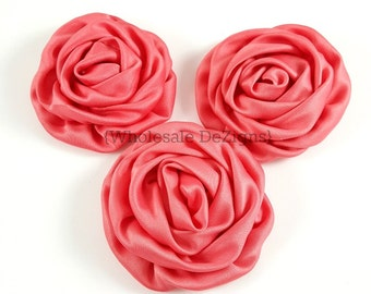 Coral Satin Rolled Rosette Flowers - Set of 3