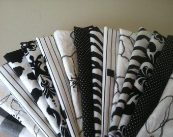 Black and White Cloth Cocktail Napkins, Wine, Cheese, Hors d' oeuvres, Appetizer, Set of 6, by CHOW with ME