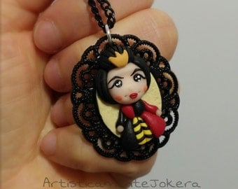 Cameo necklace handmade in polymer clay.