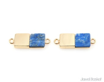 Rectangle Lapis Charm in Gold / 19.0mm x 7.0mm / SLLG108-P (2pcs)