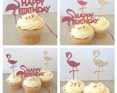Flamingo Cake Toppers, Flamingo Cupcake Toppers, Flamingo Party Decorations, Glitter (13) Pink Flamingo Birthday Party Pick Mix