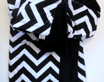 Minky Toddler Blanket, Black Chevron Minky Blanket, Minky Blanket ,Toddler Blanket, Chevron Bedding,Toddler Size 40 x 50