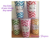 Personalized chevron plastic cup with lid and straw any color chevron.  Great teacher gifts