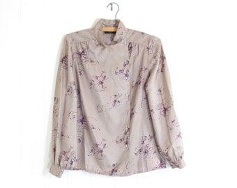 80s High CollarBlouse, Mandarin Blouse,80's Secretary Blouse with High Collar, Silver blouse, Flora Print Top