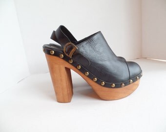 Wood Heel Platforms, Black Leather Slingback Platforms, Studded Leather Platforms, Size 8.5, Eu 39