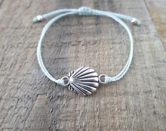 Silver Seashell Bracelet with Seafoam Cord
