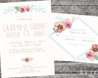 Summer Wedding, Spring Wedding, Floral Watercolor Printable Wedding Invitation Stationary