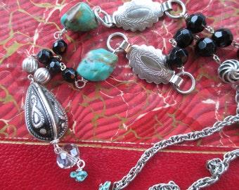 Vintage Assemblage Necklace Turquoise Necklace Southwest Necklace