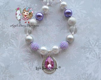 Princess Sofia Amulet Necklace - Amulet Bubblegum Necklace - Sofia Chunky Bubblegum Necklace Sofia the first Bracelet Set