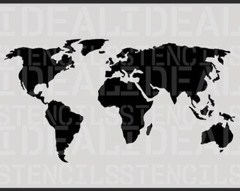 WORLD MAP STENCIL,  decorative wall stencil, furniture stencil, painting stencils. Ideal Stencils Ltd