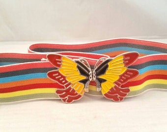 Vintage rainbow butterfly stretch belt