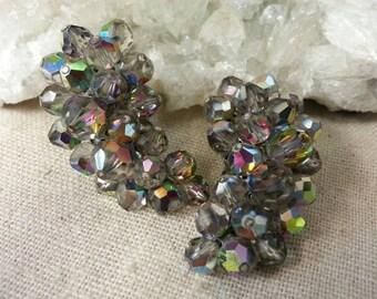 Vintage Laguna gray aurora borealis crystal paisley shaped earrings - clip on