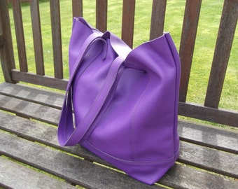 Purple Hand Made Leather Shopper/Tote/Casual Bag