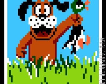 Duck Hunt Sticker Vinyl Video Game Retro Decal Eighties Decorative Gaming Gamer Decor Gift 8 Bit 80s NES Art for Fan Green Retiever Diecut