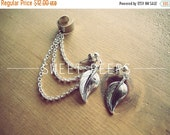 Valentines Sale Silver Ear Cuff Set Falling Leaves