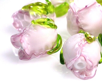 Lampwork beads pink roses 16mm, flowers,  sra