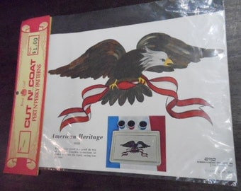 Vintage American Heritage Paper Decoupage Emblem Eagle and Banner July 4th Patriotic Colorful Craft Supply 1970 Cut N' Coat Original Package
