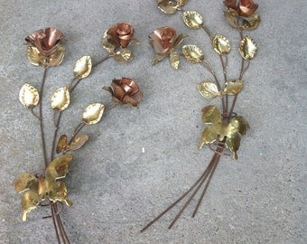 Vintage tin brass copper leaf leaves roses metal wall hangings mid century retro