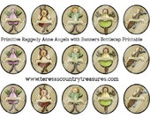 Instant Download Primitive Raggedy Anne 4 x 6 one inch Bottle Cap Images Printable Digital Collage Sheet glass tile cabochon images