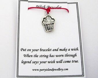 Hot Pink CUPCAKE Friendship Wish Bracelet with Wish Message Card - Cake Baking