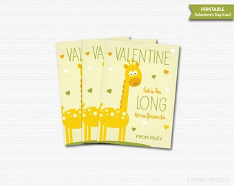 Giraffe Valentines Cards Printable Long Time Friends Valentines Day Card Classroom Valentines Kids Valentines Digital Yellow Green Neutral