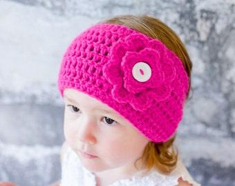 Crochet Ear Warmer - Crochet Headband - Crochet Flower - Earwarmer - pink Earwarmer, Crochet Sparkle ear warmer - Sparkle headband w flower