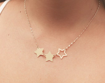 Delicate Star Necklace Three Star Necklace Gold Filled or Silver Trio Star Necklace  Everyday Jewelry .