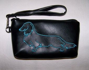 Elegant Black Clutch/Wristlet with Blue Long Hair Embroidered Dachshund