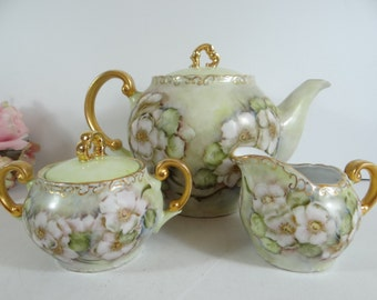 Unique American Art Pottery Hand Painted Large Teapot Sugar and Creamer Set - Anyone for Tea