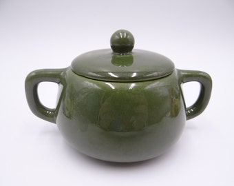 Near Mint Vintage 1940s Bauer Pottery Mission Moderne Olive Green Sugar Bowl