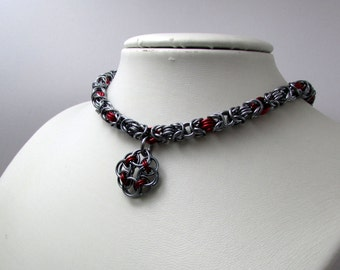 Dark Silver and Red Necklace with Rose Pendant– Byzantine Chainmaille - Nickel Free Chain Necklace - Handmade Chainmail